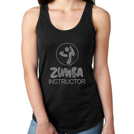 Womens T-Shirt Rhinestone Bling Black Tee Zumba Instructor Dance Fitness Tank Racer Back Medium
