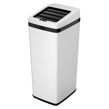 - iTouchless 14 Gallon Matte White Steel Sensor Trash Can with Retracting Lid