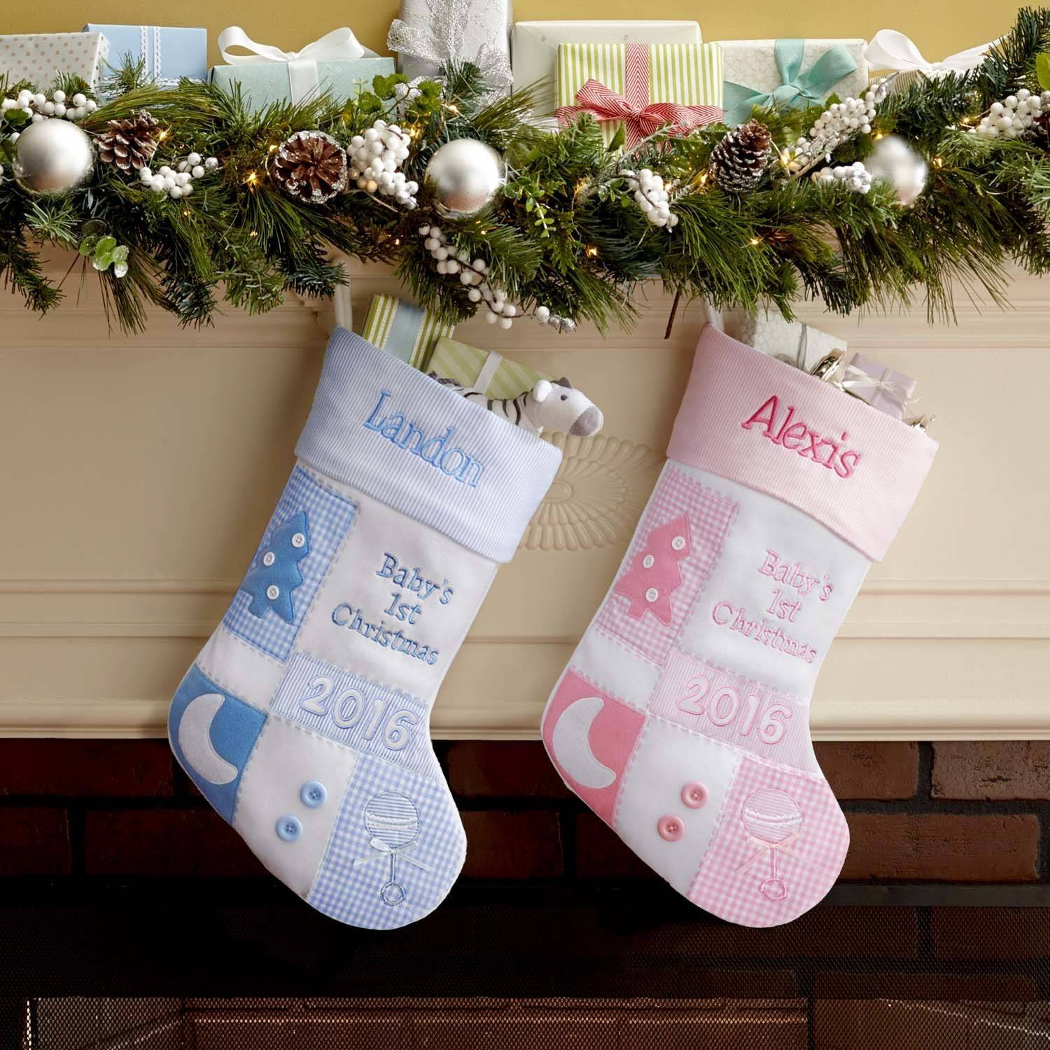 Personalized Baby's 1st Christmas 2016 Patchwork Stocking