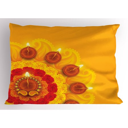 Diwali Pillow Sham Paisley Design with Flowers Diwali Religious Festival Burning Candles Print, Decorative Standard Size Printed Pillowcase, 26 X 20 Inches, Yellow and Red, by Ambesonne (Halloween Festival Paisley)