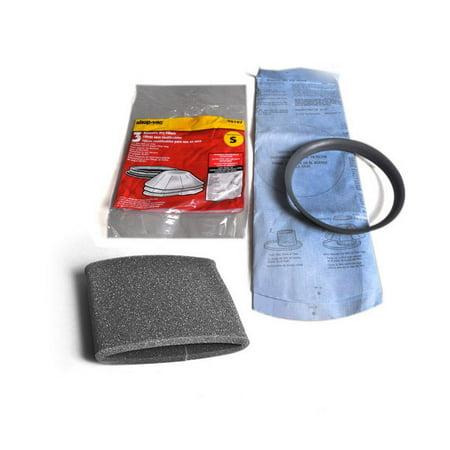 Vac Foam Filter (Shop Vac Vac Reuseable Dry Filter Comes With 3 Filter and 1 Ring With 1PK Foam Filter, Fits Shop Vac Models QS60A, QS30A, QS20A, QPV10.5B, QPV10.5, QPS20, 5015, 3332.5A )