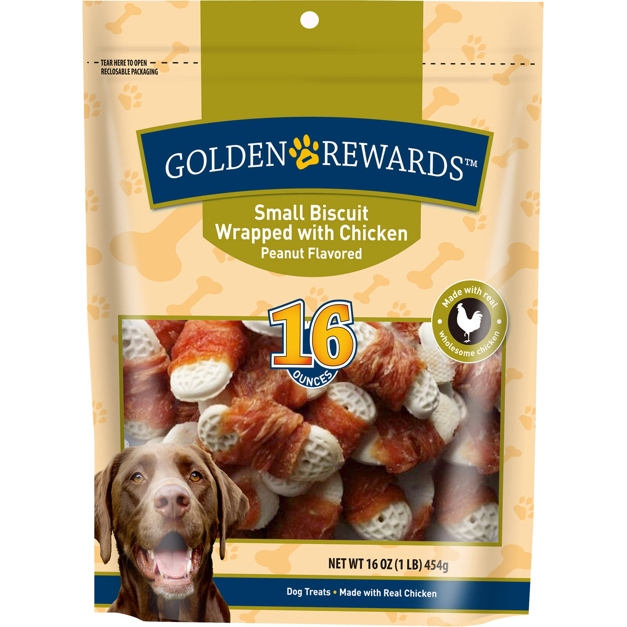 Golden Rewards Small Biscuit Wrapped With Chicken Peanut Flavored Dog Treats, 16 Oz