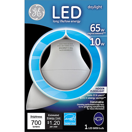 GE 65 watt (uses 10 watts) Daylight R30 LED Flood, 1 Pack