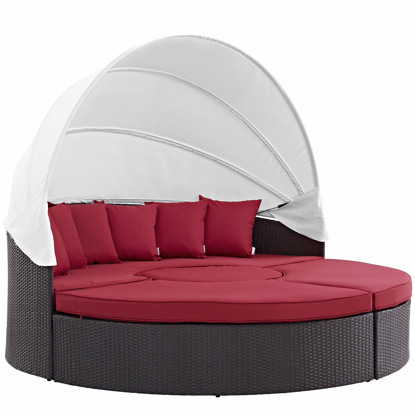 Modern Contemporary Urban Design Outdoor Patio Balcony Canopy Umbrella Daybed Sofa, Red, Rattan