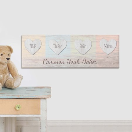 Personalized Baby Canvas - Personalized Baby Hearts Birth Info Canvas 27