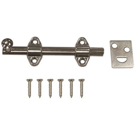 4 in. Surface Bolt Steel, Satin Chrome Plated