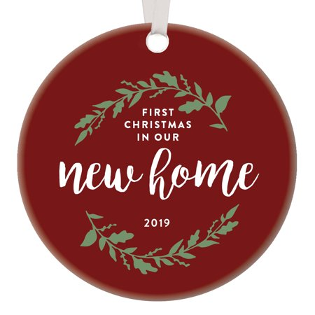 1st Christmas New Home Ornament 2019 Pretty Red Decor Cute Flora Wreath Design Holiday Tree Decoration Neighbor Housewarming Gift First Time Homeowner Keepsake Charming Memento Ceramic 3