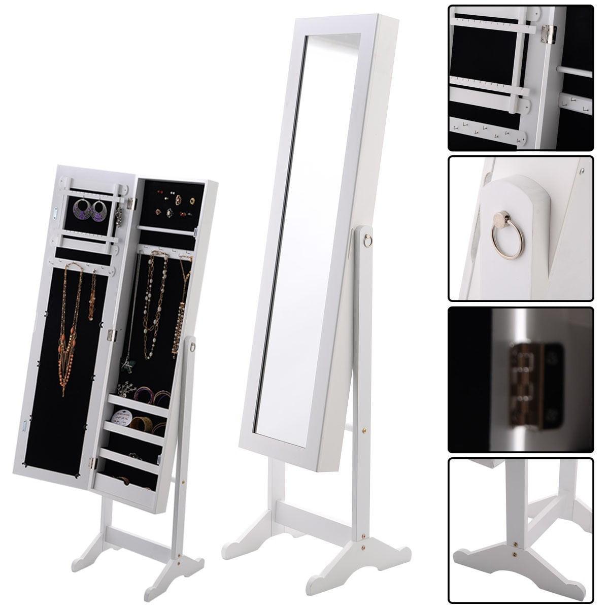 New Mirrored Jewelry Cabinet Armoire Mirror Organizer Storage Box Ring w/ Stand White