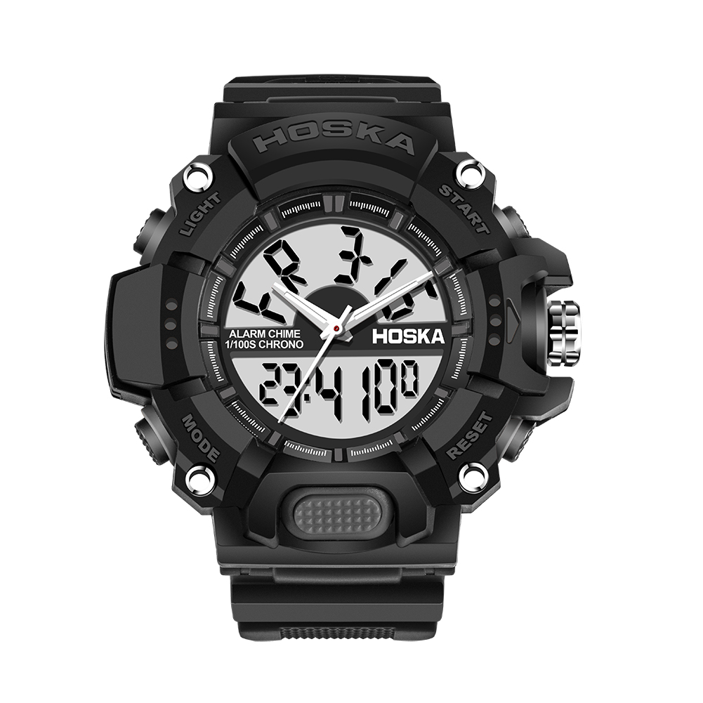 Men Fashion Waterproof Needle Electronic Digital Dispaly Blue Shell Black Plastic Watchband Swimming Sports Watch by