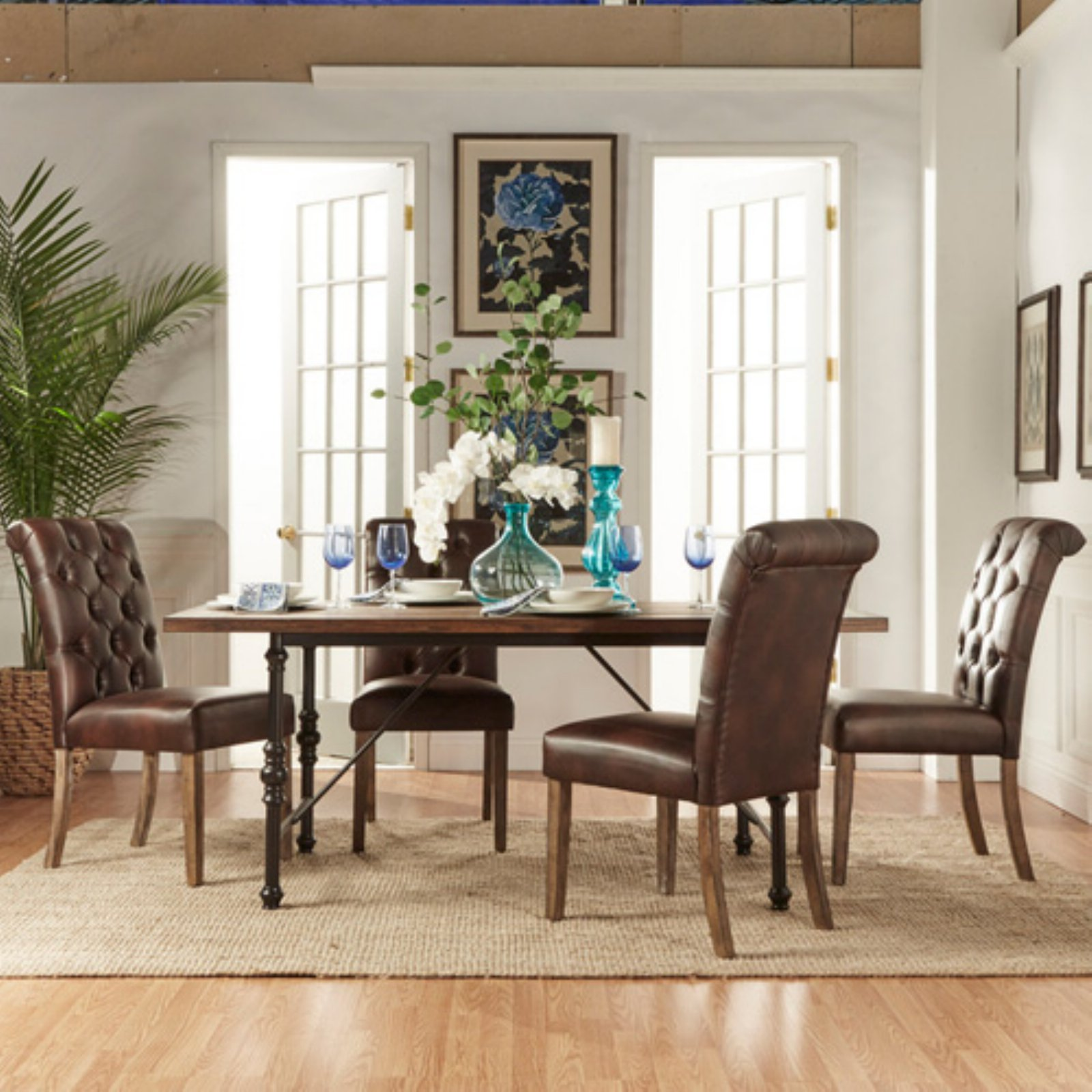 Weston Home 5 Piece Industrial Dining Set with Brown Tufted Chairs