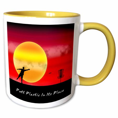 3dRose Putt Plastic In Its Place 1 silhouette of frisbee disc golfer putting near large sun - Two Tone Yellow Mug, - Golfer Silhouette