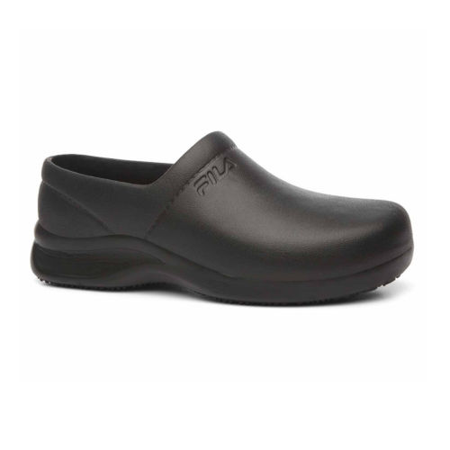 Black Slip Shoes (Fila GALVANIZE SR Womens Black Slip Resistant Slip On)