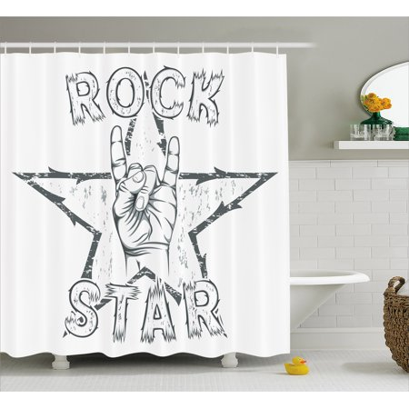 Popstar Party Shower Curtain, Rock Star Theme High Sign and Star Figure Grungy Sketch Gesture Vintage, Fabric Bathroom Set with Hooks, Black and White, by - Rock Star Party Theme