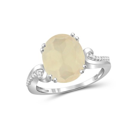 Peach Moonstone Ring - JewelersClub 4-1/4 Carat T.G.W. Moonstone and White Diamond Accent Sterling Silver Ring