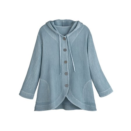 Jacket Tunic Skirt (Women's Tunic Jacket - Hooded Button-Front Waffle Sweater)