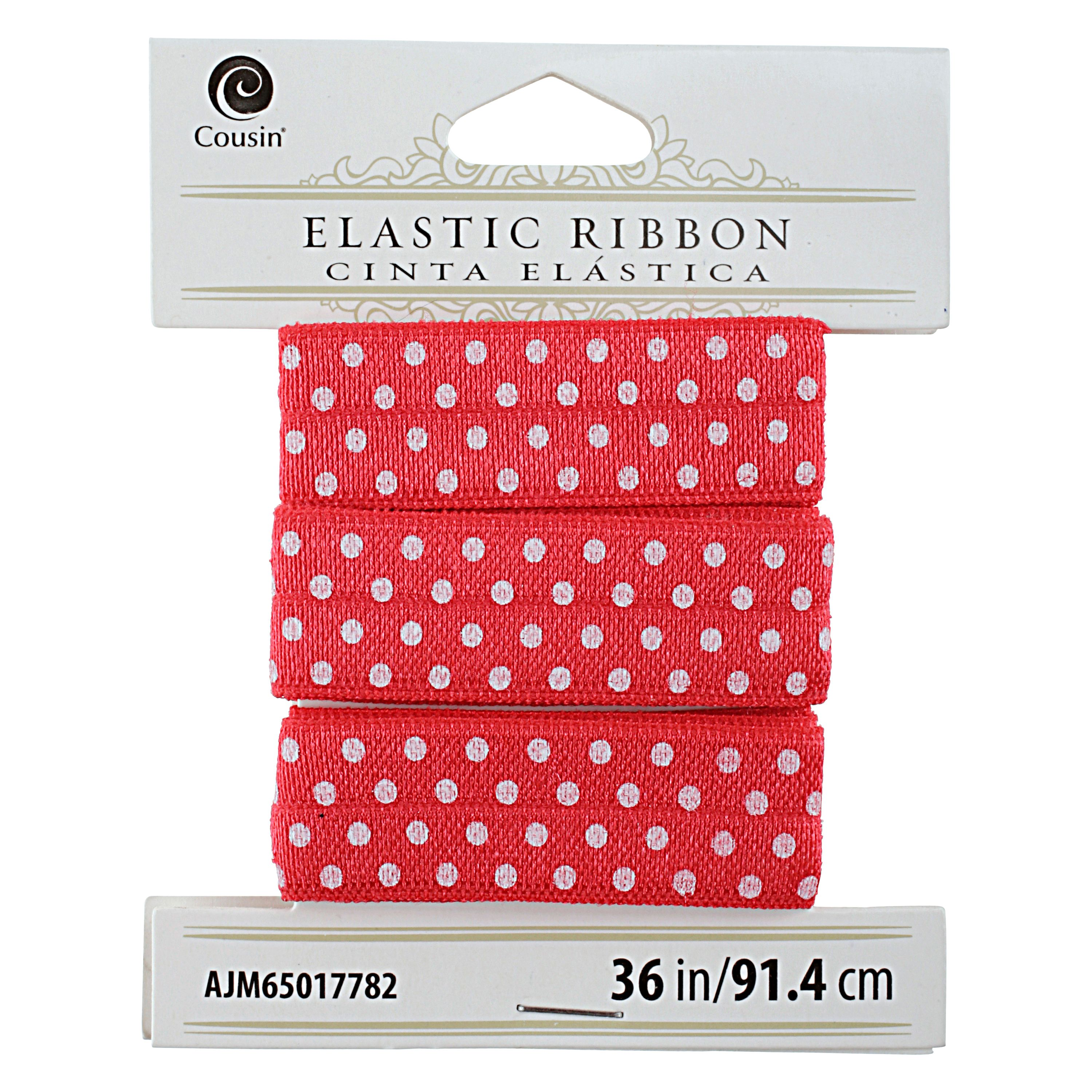 Cousin Elastic Ribbon 36 inches Shimmery Red White Dots