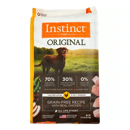 Instinct Original Grain-Free Recipe with Real Chicken Natural Dry Dog Food by Nature's Variety, 22.5 lb. (Natures Variety Instinct Raw Dog Food Reviews)