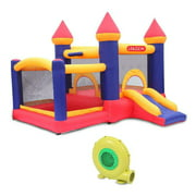 Zimtown Safe Inflatable Bounce House Castle Kids Slide Jumper Bouncer 2 Room with Blower