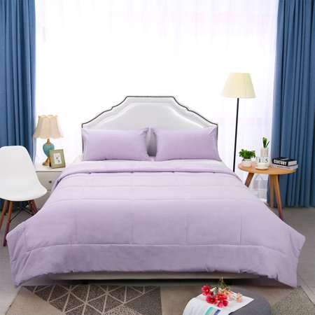 Full/Queen 3 Piece Bedding Comforter Sets 100% Cotton All Season Down Alternative Quilted Comforter , Lavender