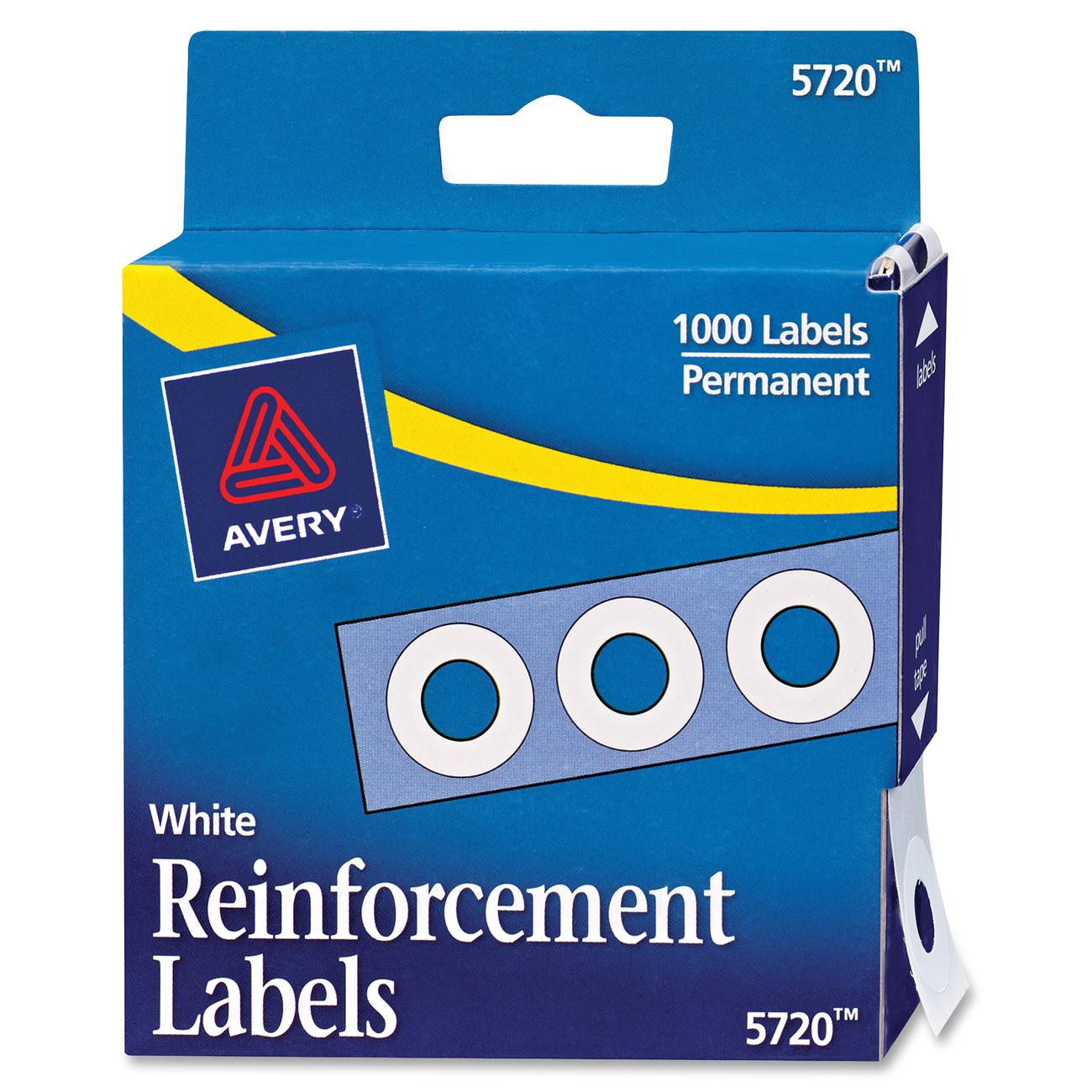 "Avery Dispenser Pack Hole Reinforcements, 1/4"" Dia, White, 1000/Pack"