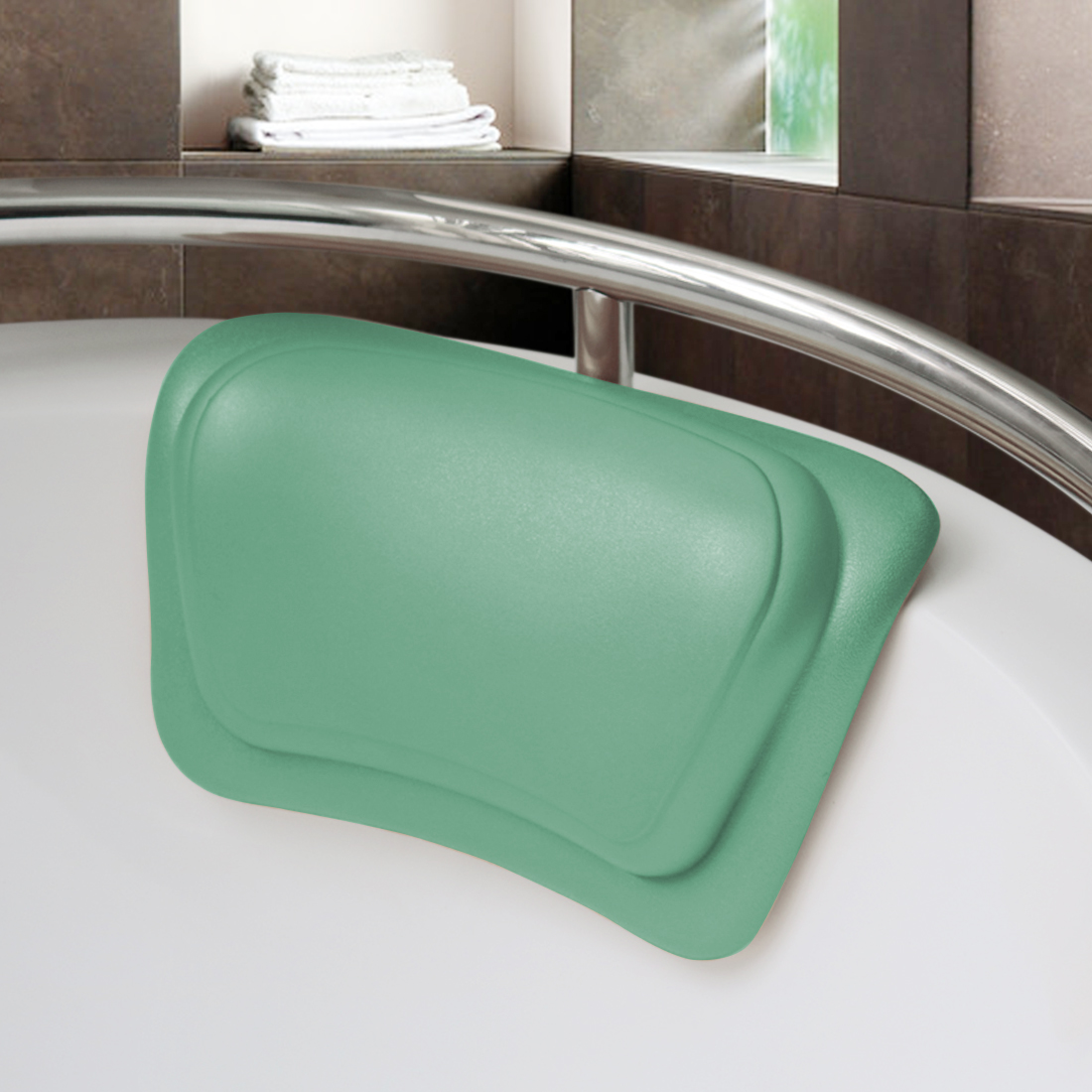 "12""x7.1"" Home Bathtub Tub Spa Bath Pillow with Suction Cups Green"