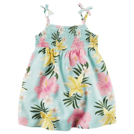 (Carters Baby Girls Hawaiian Floral Dress Green)