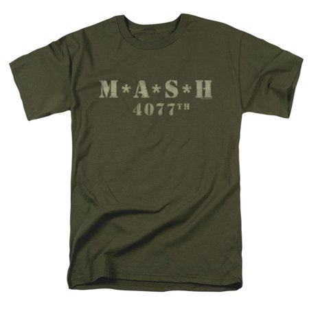 Mash Men's  Distressed Logo T-shirt - Green M And M
