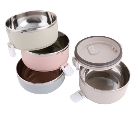 Office Plastic 4 Layers Cylinder Food Rice Soup Storage Holder Lunch Box - image 4 of 5