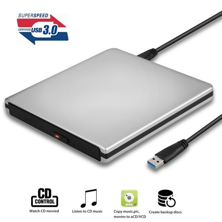 TSV External CD DVD Drive, Portable USB 3.0 CD DVD Burner Player Compatible for Windows10/7/8, Laptop, Mac, MacBook Serious,