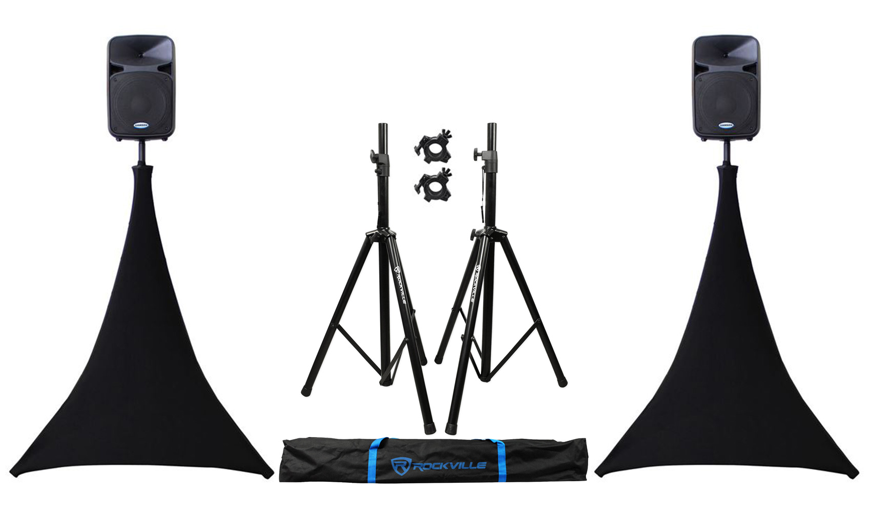 (2) Rockville Tripod Speaker Stands + Odyssey Scrim Werks SWLTPSBLK Black Cover by ROCKVILLE