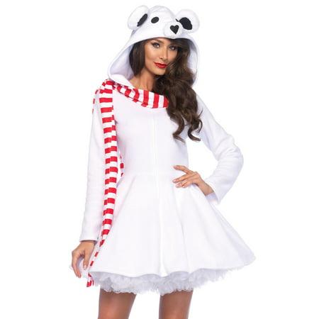 Cozy Polar Bear Front Zipper Dress w/ Hood & scarf - Polar Bear Makeup For Halloween