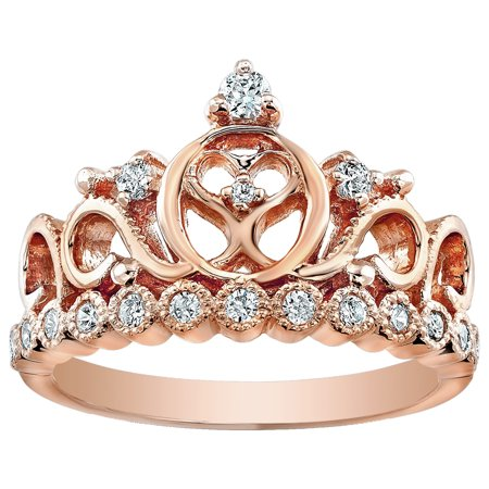 Sterling Silver Heart Crown Ring (Rose Gold Plated)