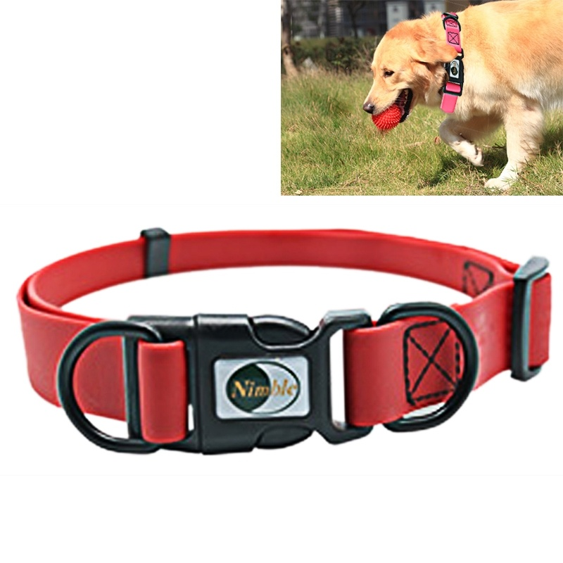 Dog Collar PVC Material Waterproof Adjustable Dual Loop Pet Dogs Collar, Suitable for Ferocious Dogs, Size: S, Collar Size: 24-36 cm (Red)