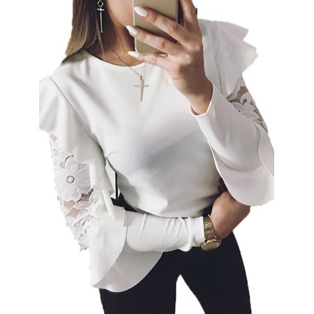 - Womens Casual Long Sleeve Frill Ruffle Tops Blouse Plain T-Shirt Loose Tee