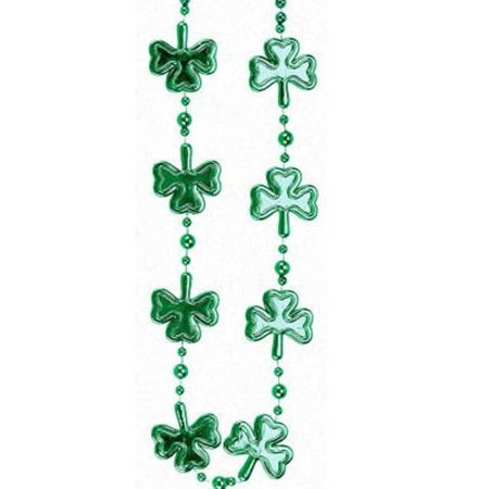 Shamrock Clover Green Mardi Gras Bead Necklace St Patrick's Day](St Patricks Day Party Supplies)