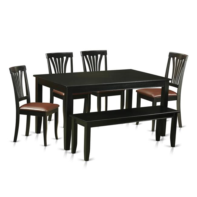 East West Furniture DUAV6-BLK-LC Kitchen Nook Dining Set - Kitchen Table &...