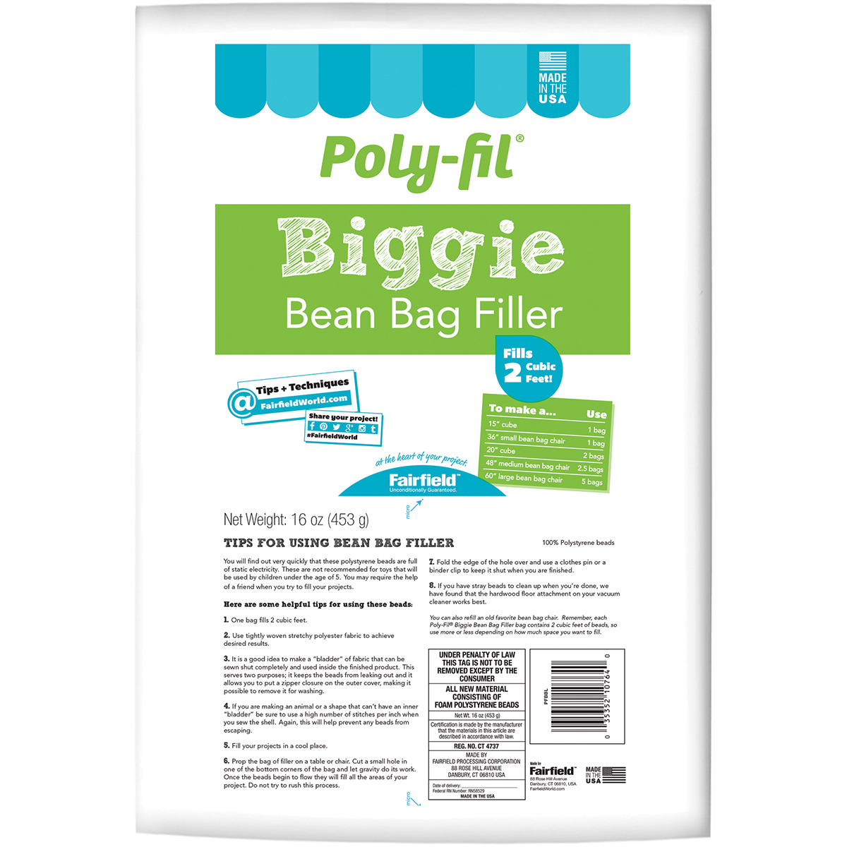 Fairfield Poly-Fil Biggie Bean Bag Filler-16oz FOB: MI