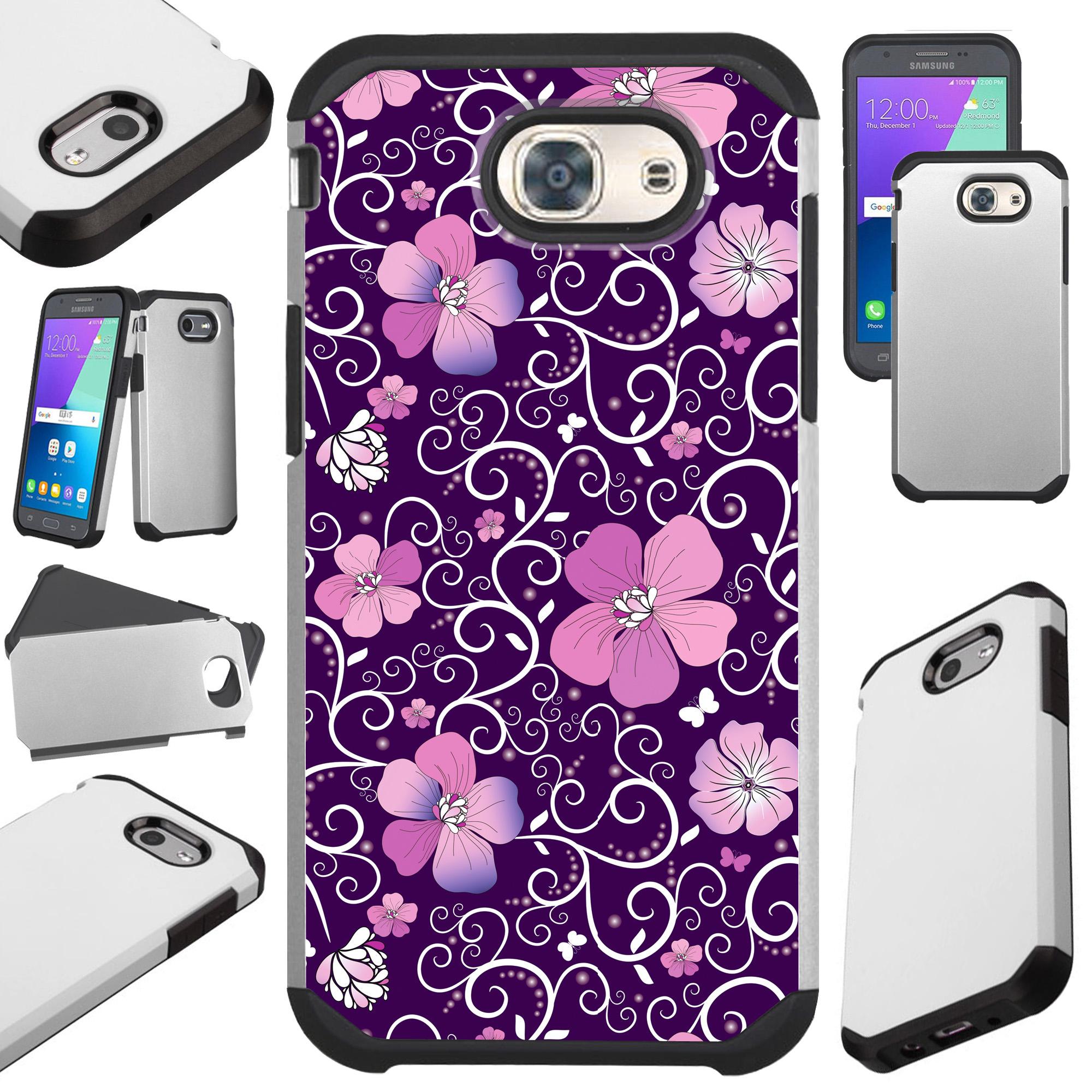 For Samsung Galaxy J7 (2017) / J7V J7 V / J7 Sky Pro / J7 Perx / J7 Prime / Galaxy Halo Case Hybrid TPU Fusion Phone Cover (Purple Flowe Vine)