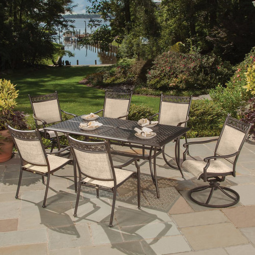 Oakland Living Bali Cast Aluminum and Sling 7 Piece Dining Room Set by Oakland Living Corporation
