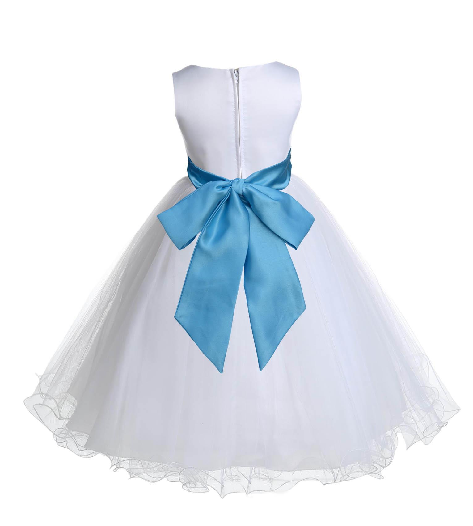 Ekidsbridal Wedding Pageant White Flower Girl Dress Tulle Rattail ...