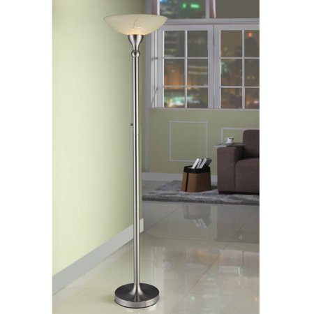 Artiva  USA 71-inch Compact Fluorescent Torchiere Floor Lamp with Hand-painted Alabaster Glass Shade