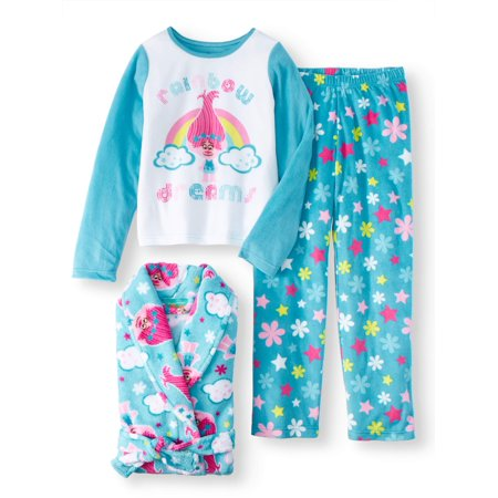 Anaheim 3 Piece Set - Trolls Girls 3 Piece Pajama Robe Set (Big Girl & Little Girl)