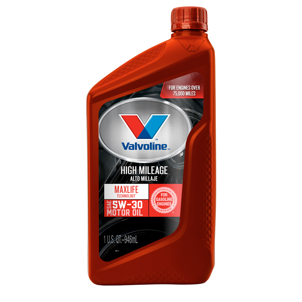 (2 Pack) Valvoline High Mileage with MaxLife Technology SAE 5W-30 Synthetic Blend Motor Oil - 1 Quart