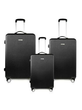 "28"" 24"" 20""   Black 3-piece Lightweight Hardside ABS Spinner Luggage Set w/Lockable Zippers"
