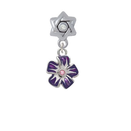 Purple and White Flower with Pink Crystal - Star of David with Clear Crystal Charm Bead