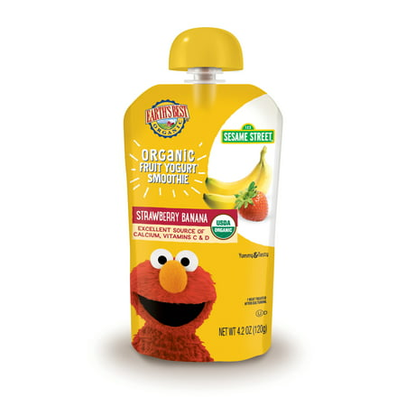 Earth's Best Organic Sesame Street Toddler Fruit Yogurt Smoothie, Strawberry Banana, 4.2 oz.