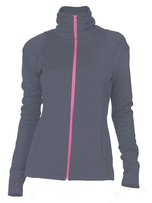 Soffe 5534V0GKXLG Juniors Nu Wave Mock Polyester Pique Jacket, Gunmetal & Cotton Candy - Extra Large