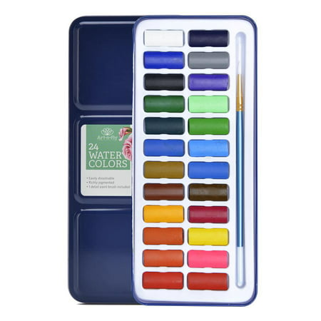 Watercolor Paints (24 Watercolor portable paint set with water)