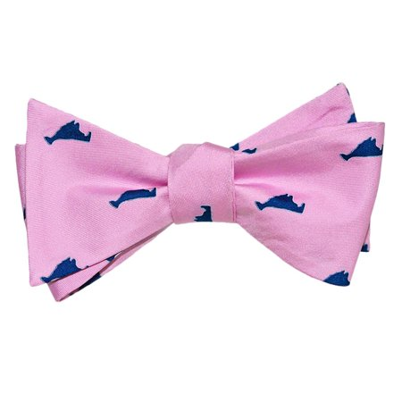 SummerTies Martha's Vineyard Bow Tie - Navy on Pink, Printed Silk, Adult Tie Yourself Bow Tie Checkered Silk Necktie Tie