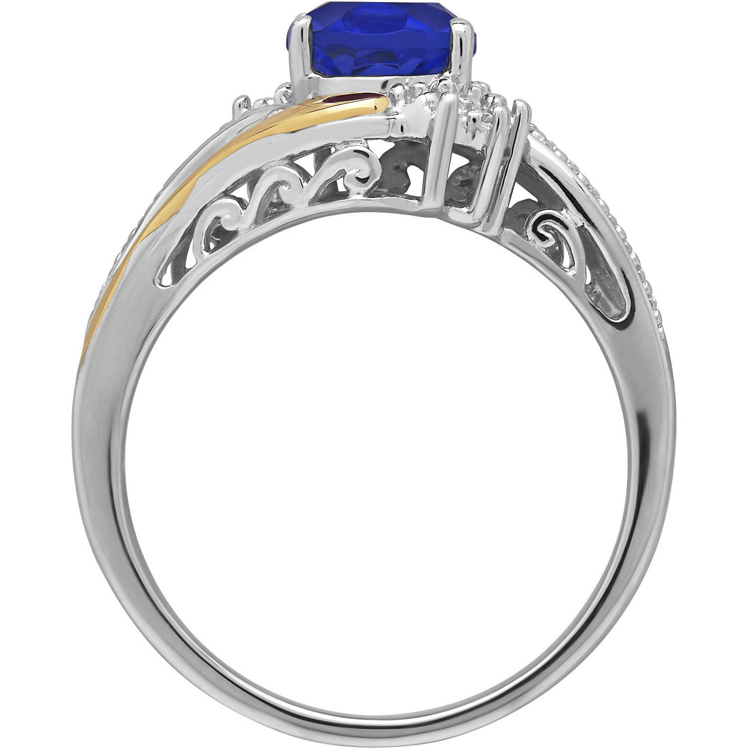 Duet Sterling Silver with 10kt Yellow Gold Oval Created Sapphire